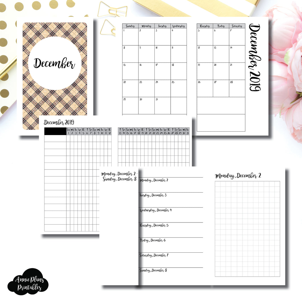 Pocket TN Size | DEC 2019 | Month/Weekly/Daily GRID (Monday Start) Printable Insert ©