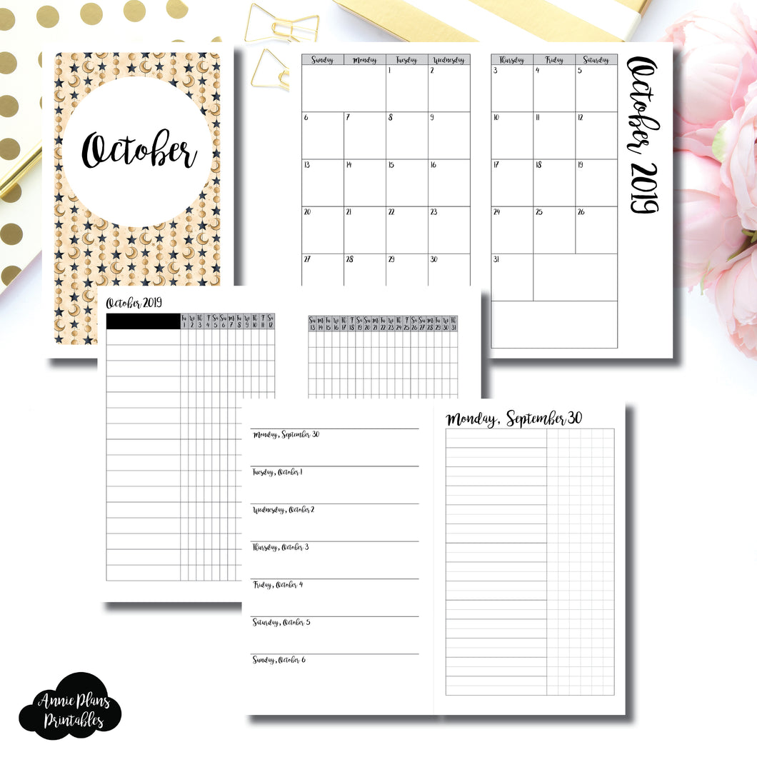 B6 SLIM TN Size | OCT 2019 | Month/Weekly/Daily UNTIMED (Monday Start) Printable Insert ©