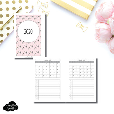 Pocket Plus Rings Size | 2020 Single Page Monthly Printable Insert ©