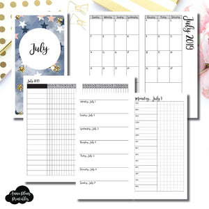 Standard TN Size | JUL 2019 | Month/Weekly/Daily TIMED (Monday Start) Printable Insert ©