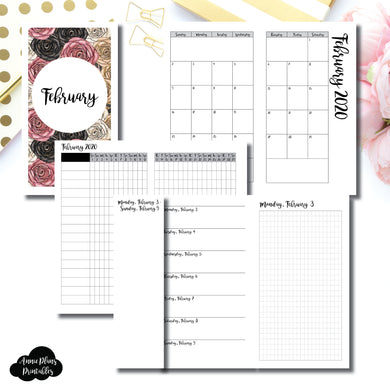 Personal TN Size | FEB 2020 | Month/Weekly/Daily GRID (Monday Start) Printable Insert ©