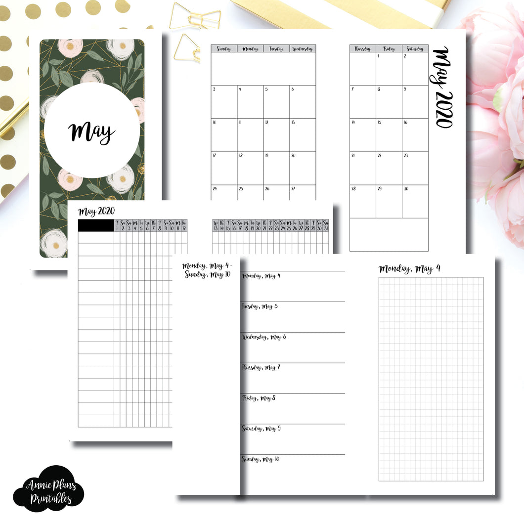 Personal Rings Size | MAY 2020 | Month/Weekly/Daily GRID (Monday Start) Printable Insert ©