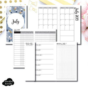Personal TN Size | JUL 2019 | Month/Weekly/Daily GRID (Monday Start) Printable Insert ©