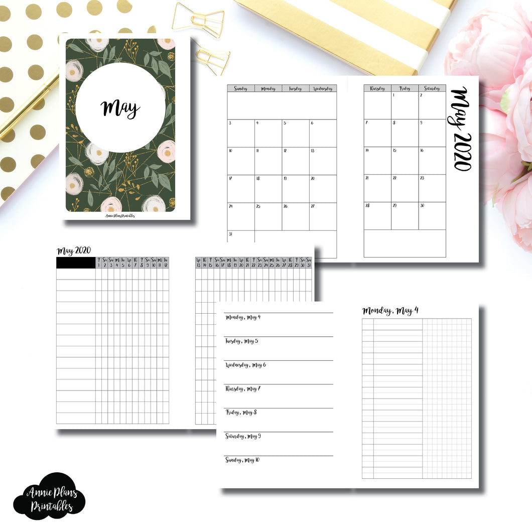 A6 Rings Size | MAY 2020 | Month/Weekly/Daily UNTIMED (Monday Start) Printable Insert ©