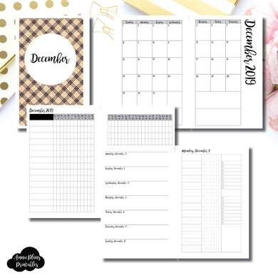 Half Letter Rings Size | DEC 2019 | Month/Weekly/Daily 3 COLUMN UNTIMED (Monday Start) Printable Insert ©