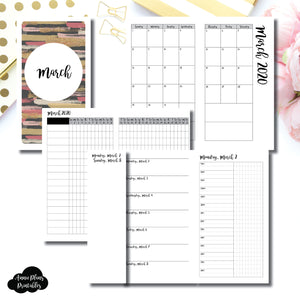 Personal TN Size | MAR 2020 | Month/Weekly/Daily TIMED (Monday Start) Printable Insert ©