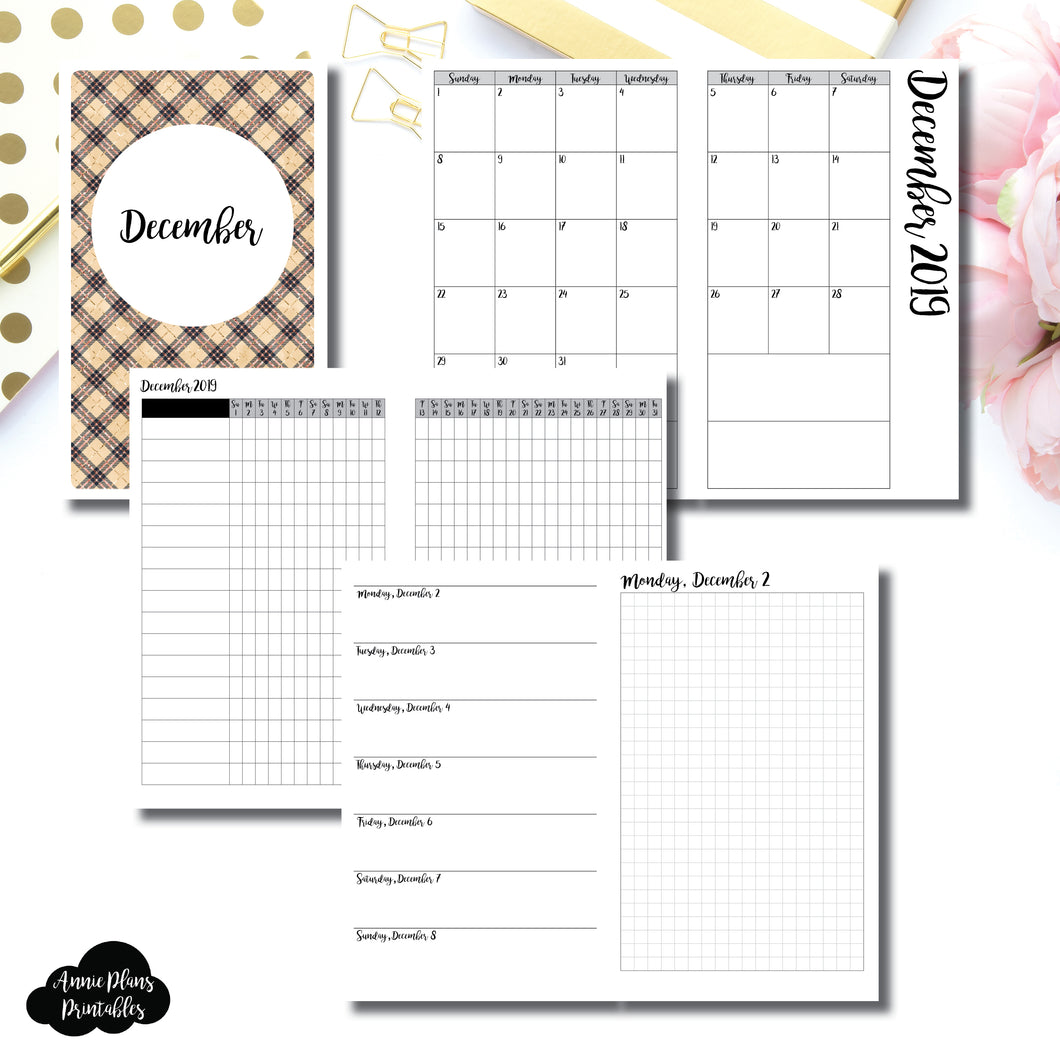 Cahier TN Size | DEC 2019 | Month/Weekly/Daily GRID (Monday Start) Printable Insert ©