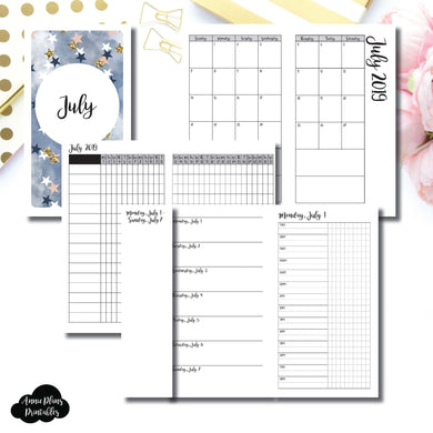 Personal TN Size | JUL 2019 | Month/Weekly/Daily TIMED (Monday Start) Printable Insert ©