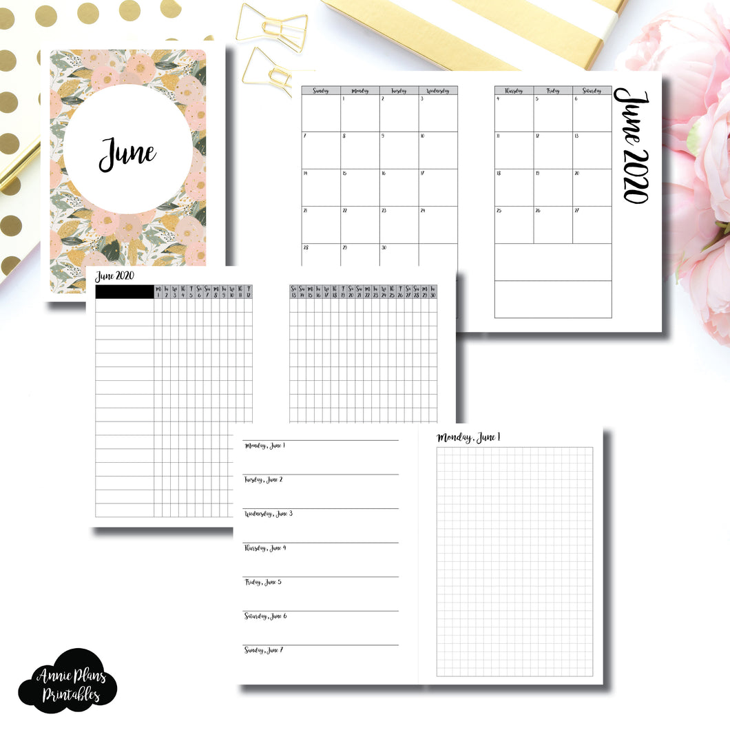 Personal Wide Rings Size | JUN 2020 | Month/Weekly/Daily GRID (Monday Start) Printable Insert ©