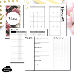 Personal Rings Size | FEB 2020 | Month/Weekly/Daily GRID (Monday Start) Printable Insert ©