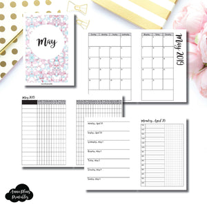 A6 Rings Size | MAY 2019 | Month/Weekly/Daily TIMED (Monday Start) Printable Insert ©