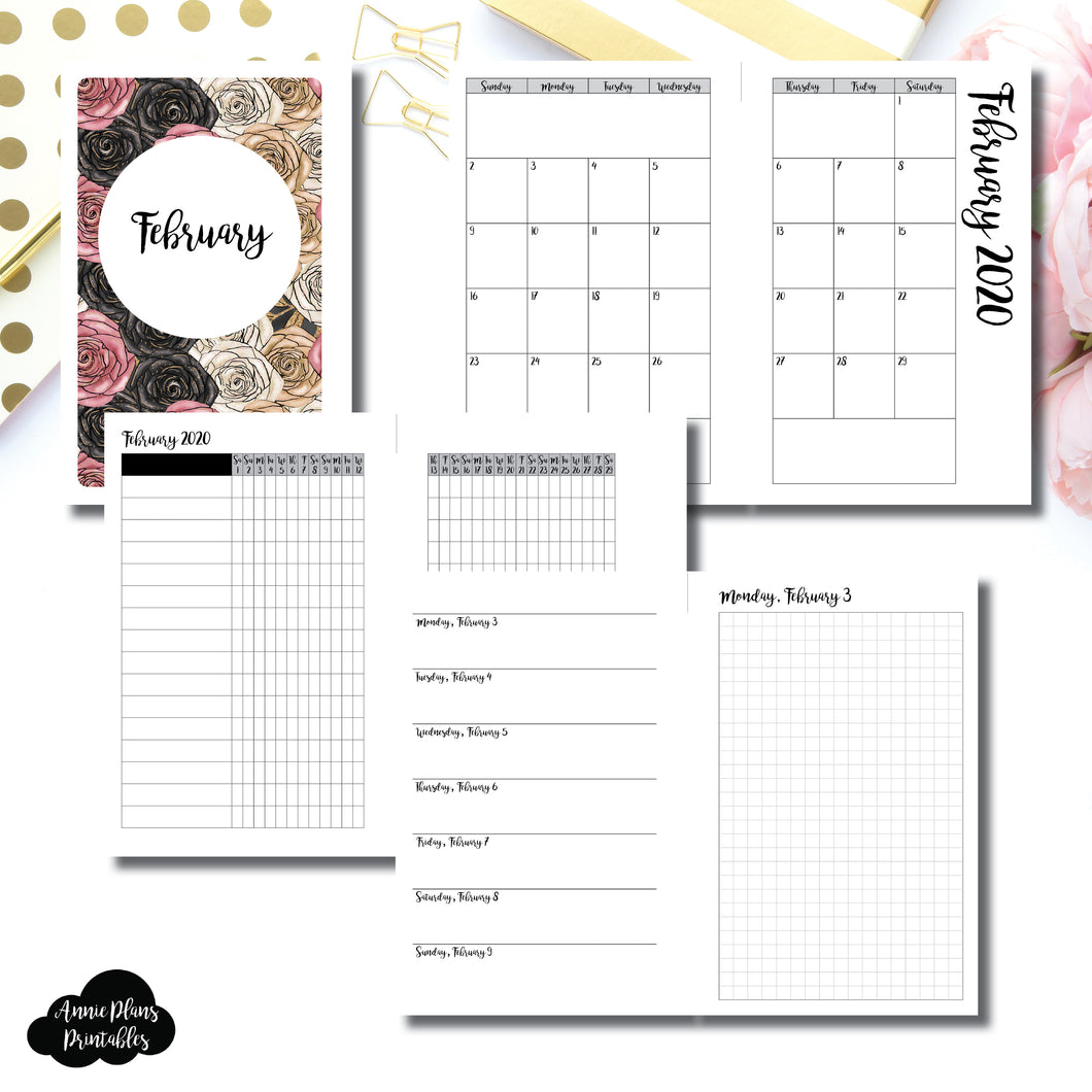 Mini HP Size | FEB 2020 | Month/Weekly/Daily GRID (Monday Start) Printable Insert ©