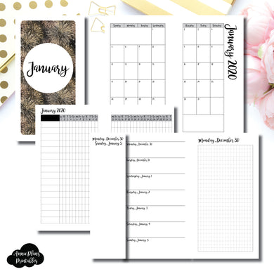 Personal Rings Size | JAN 2020 | Month/Weekly/Daily GRID (Monday Start) Printable Insert ©