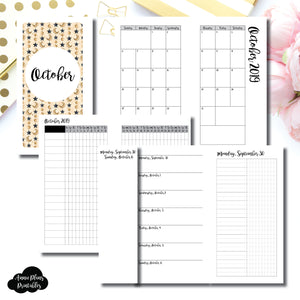Personal Rings Size | OCT 2019 | Month/Weekly/Daily UNTIMED (Monday Start) Printable Insert ©