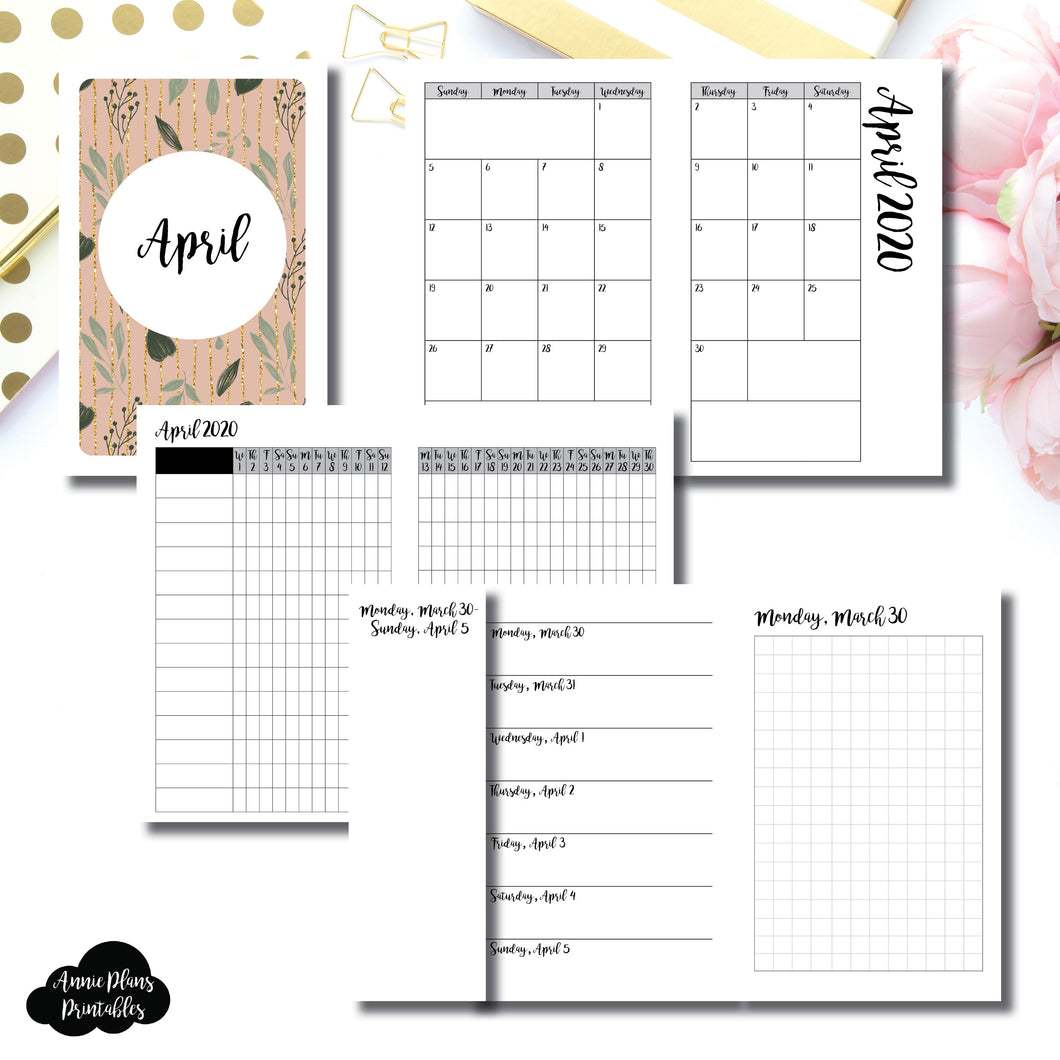 Pocket TN Size | APR 2020 | Month/Weekly/Daily GRID (Monday Start) Printable Insert ©