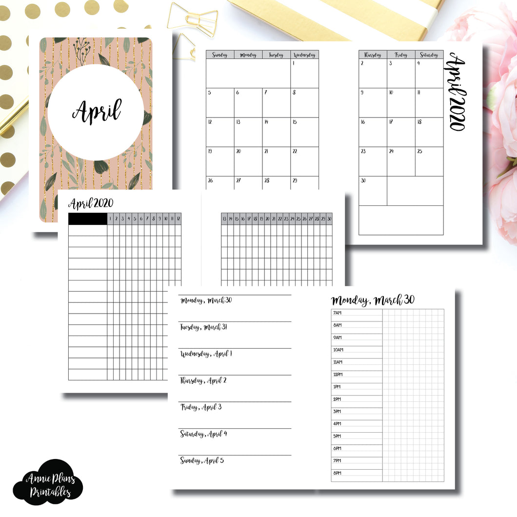 Pocket Plus Rings Size | APR 2020 | Month/Weekly/Daily TIMED (Monday Start) Printable Insert ©