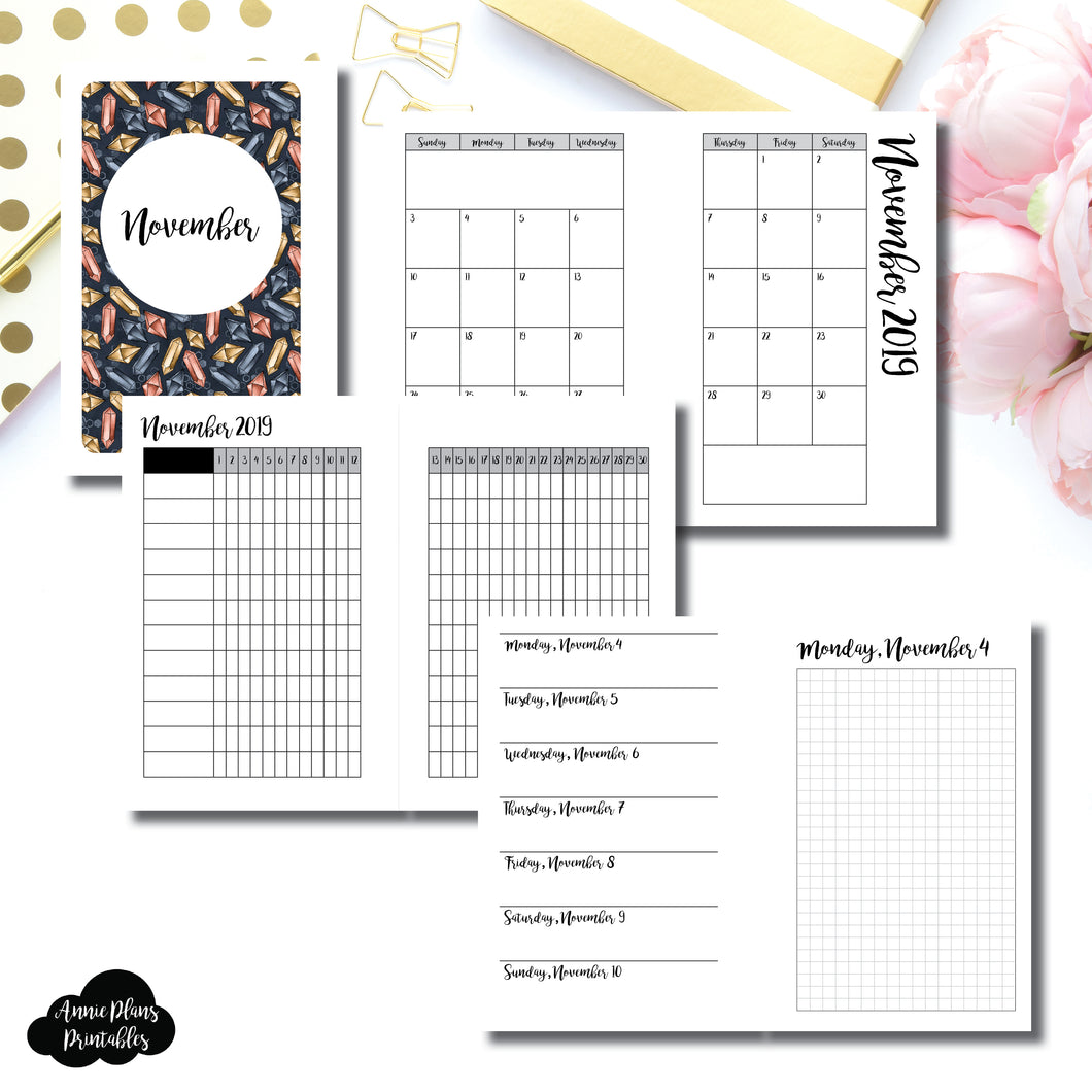 Pocket Rings Size | NOV 2019 | Month/Weekly/Daily GRID (Monday Start) Printable Insert ©