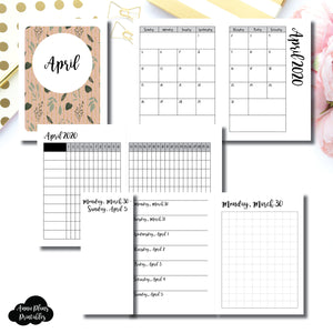 Micro TN Size | APR 2020 | Month/Weekly/Daily GRID (Monday Start) Printable Insert ©