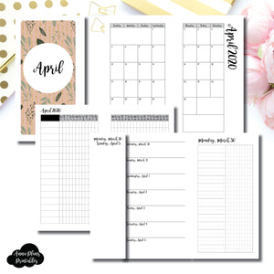 Personal Rings Size | APR 2020 | Month/Weekly/Daily UNTIMED (Monday Start) Printable Insert ©