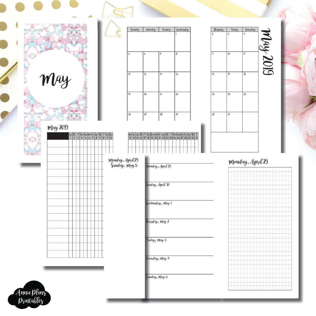 Personal Rings Size | MAY 2019 | Month/Weekly/Daily GRID (Monday Start) Printable Insert ©
