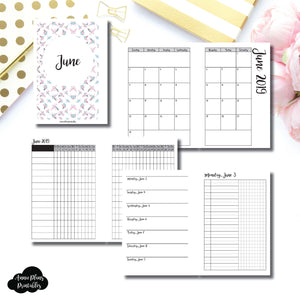 A6 Rings Size | JUN 2019 | Month/Weekly/Daily UNTIMED (Monday Start) Printable Insert ©