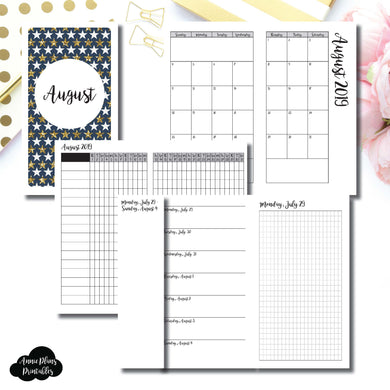 Personal TN Size | AUG 2019 | Month/Weekly/Daily GRID (Monday Start) Printable Insert ©