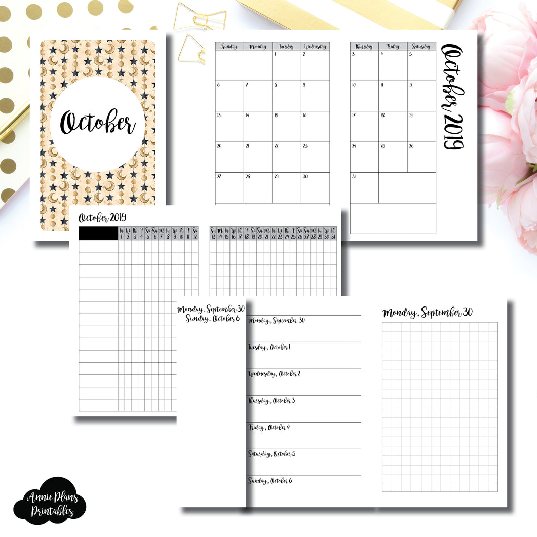 Pocket TN Size | OCT 2019 | Month/Weekly/Daily GRID (Monday Start) Printable Insert ©