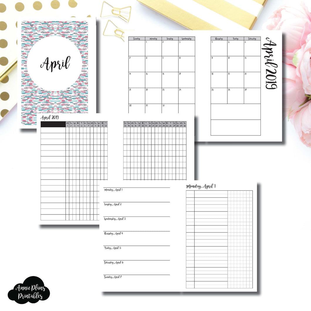 Personal Wide Rings Size | APR 2019 | Month/Weekly/Daily UNTIMED (Monday Start) Printable Insert ©