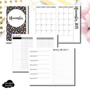 B6 SLIM TN Size | NOV 2019 | Month/Weekly/Daily GRID (Monday Start) Printable Insert ©