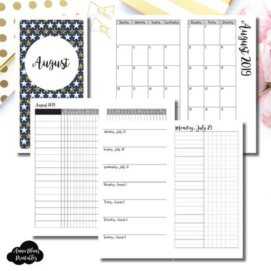 Standard TN Size | AUG 2019 | Month/Weekly/Daily UNTIMED (Monday Start) Printable Insert ©