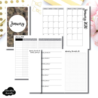 Personal TN Size | JAN 2020 | Month/Weekly/Daily GRID (Monday Start) Printable Insert ©