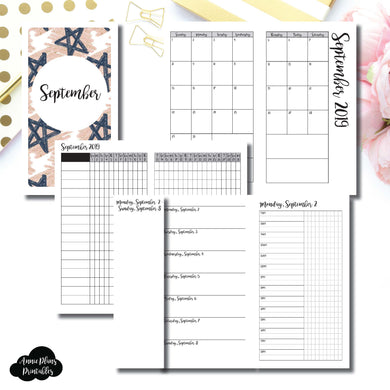 Personal TN Size | SEP 2019 | Month/Weekly/Daily TIMED (Monday Start) Printable Insert ©