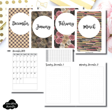 Pocket Plus Rings Size | 2019 DEC - 2020 MAR | FULL Month Daily (DOT GRID) | Printable Insert ©