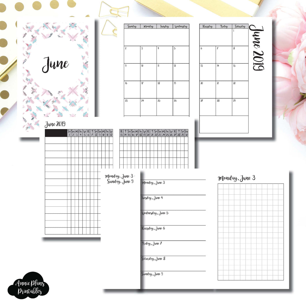Pocket TN Size | JUN 2019 | Month/Weekly/Daily GRID (Monday Start) Printable Insert ©