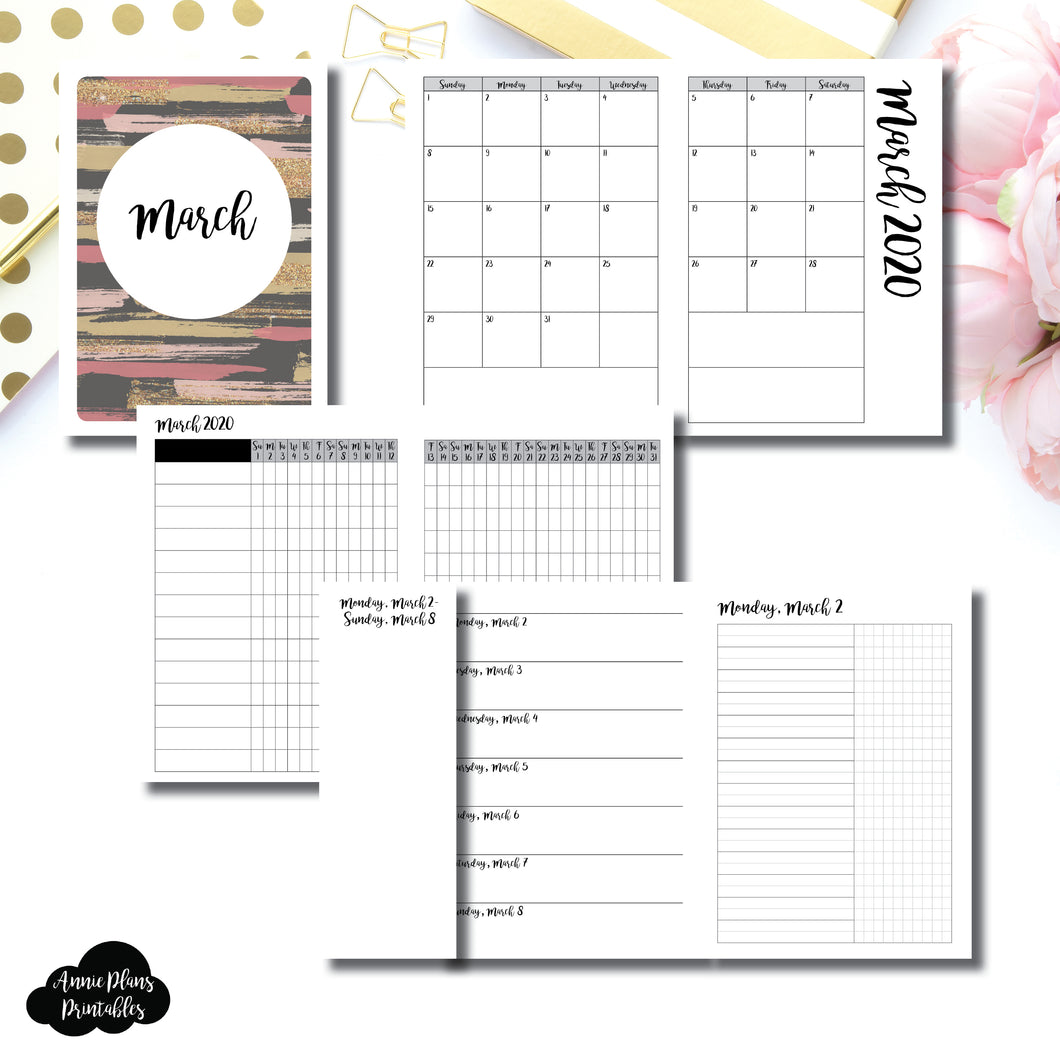 A6 TN Size | MAR 2020 | Month/Weekly/Daily UNTIMED (Monday Start) Printable Insert ©