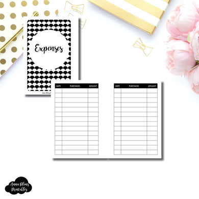 Pocket Plus Rings Size | Basic Expense Tracker Printable Insert ©