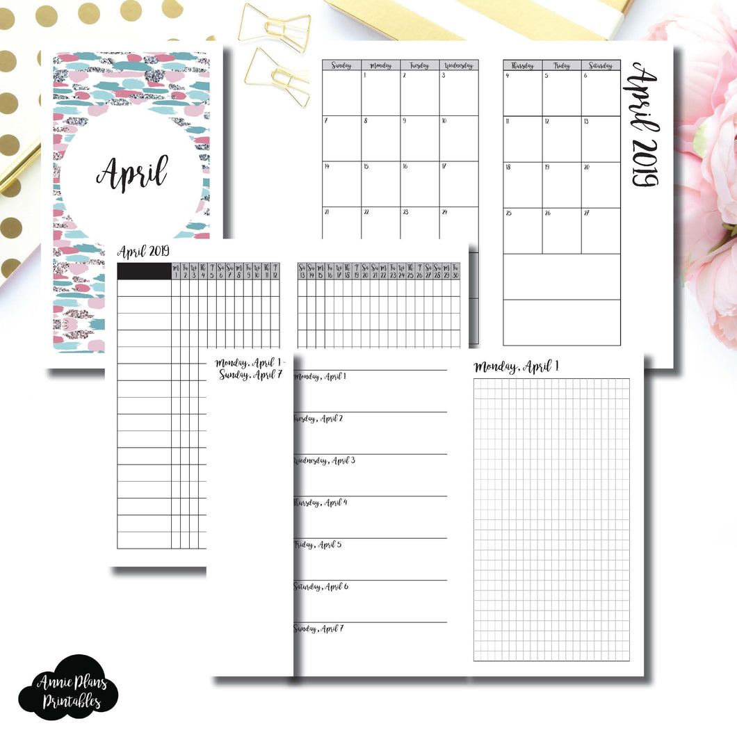 Personal TN Size | APR 2019 | Month/Weekly/Daily GRID (Monday Start) Printable Insert ©