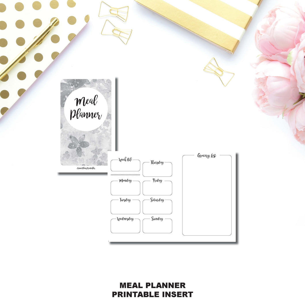 Micro TN Size | Weekly MEAL PLANNER Printable Insert ©