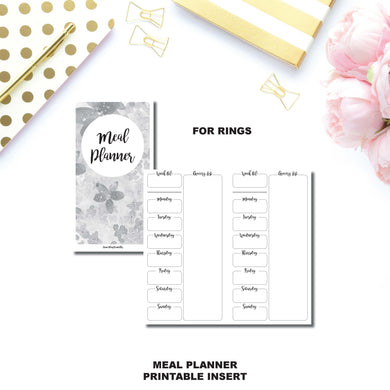A5 Rings Size | Weekly MEAL PLANNER Printable Insert ©