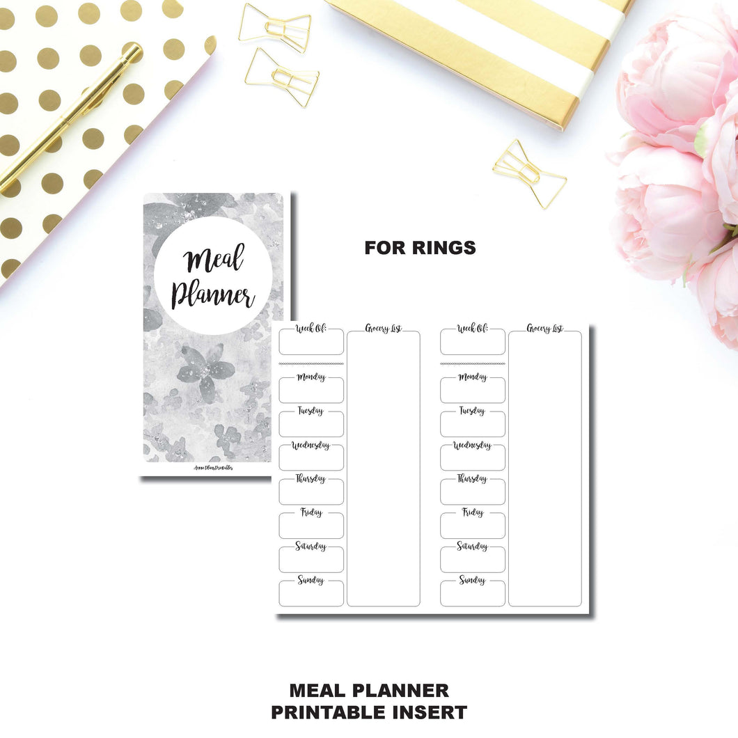 Personal Rings Size | Weekly MEAL PLANNER Printable Insert ©