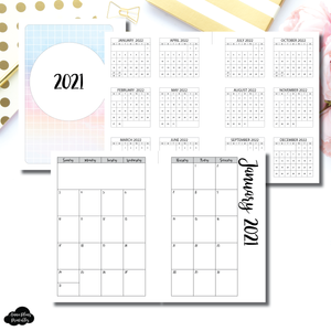 Personal TN Size | 2021 Monthly Calendar (SUNDAY Start) PRINTABLE INSERT ©