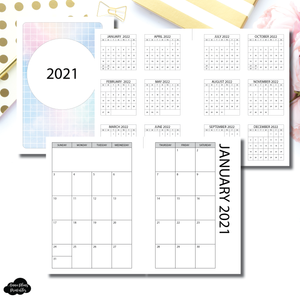 Skinny Mini HP Size | 2021 SIMPLE FONT Monthly Calendar (SUNDAY Start) PRINTABLE INSERT ©