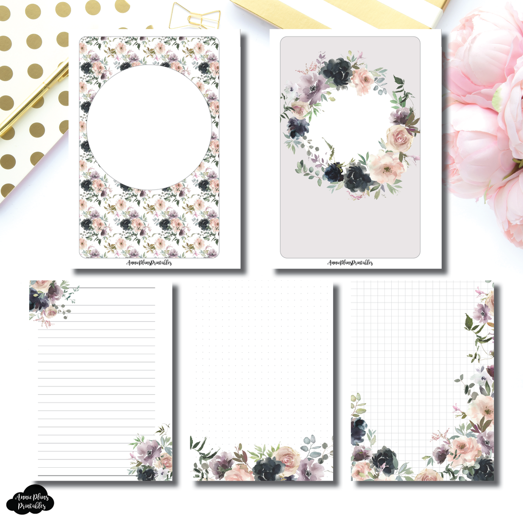 A5 Rings Size | Floral Bliss Notes Printable Insert