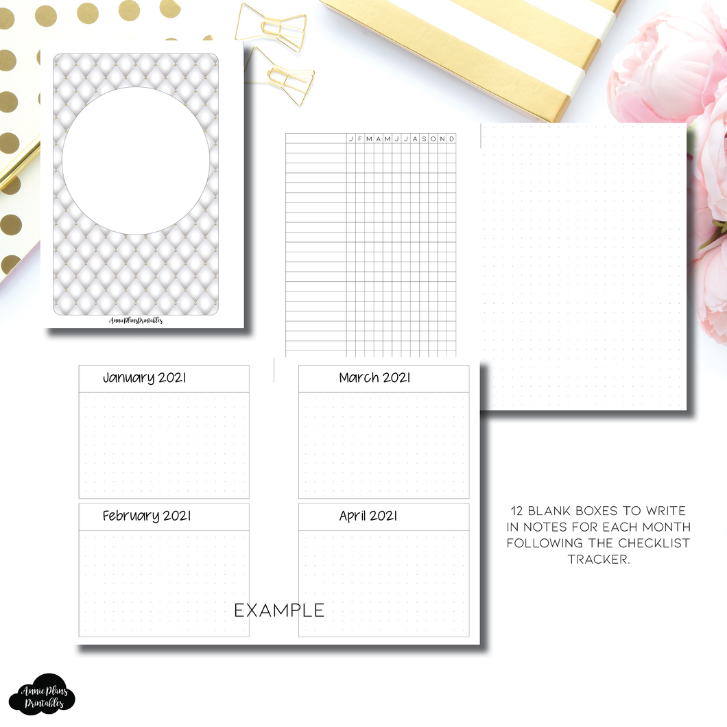 Personal Rings Size | Monthly Checklist Tracker Printable Insert