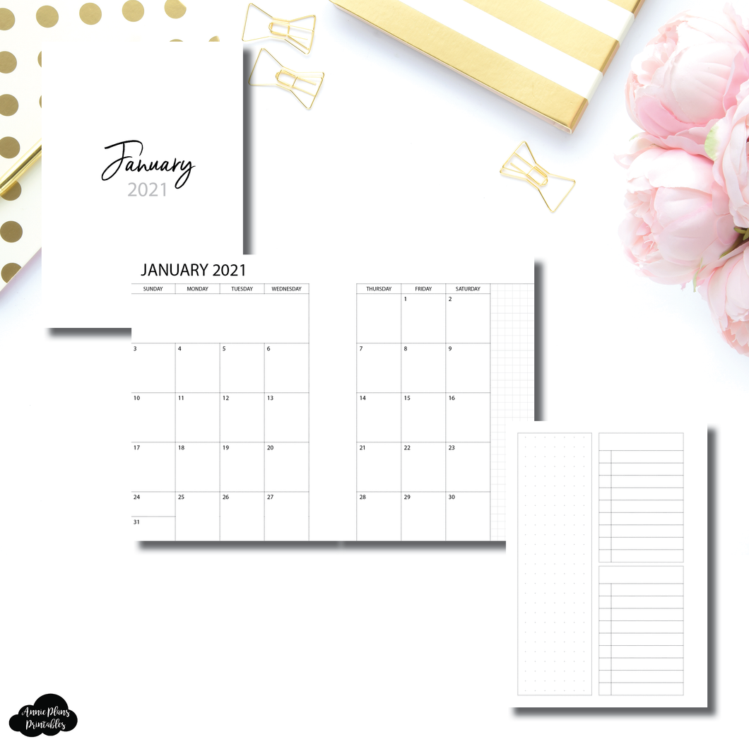 Pocket Plus Rings Size | 2021 Monthly With Cover & Notes Page Printable Insert
