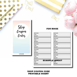 Personal Rings Size | Shop Coupon Code Tracker Printable Insert ©
