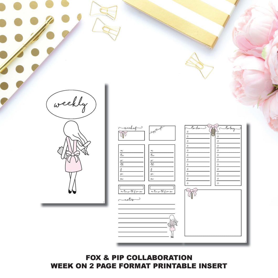 Personal TN Size | FOX&PIP Collaboration - Week on 2 Page Printable Insert ©