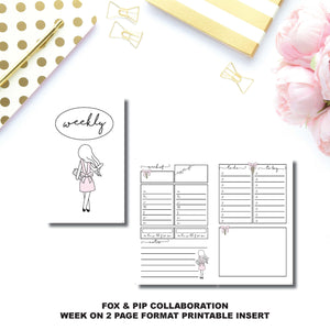 Pocket TN Size | FOX&PIP Collaboration - Week on 2 Page Printable Insert ©