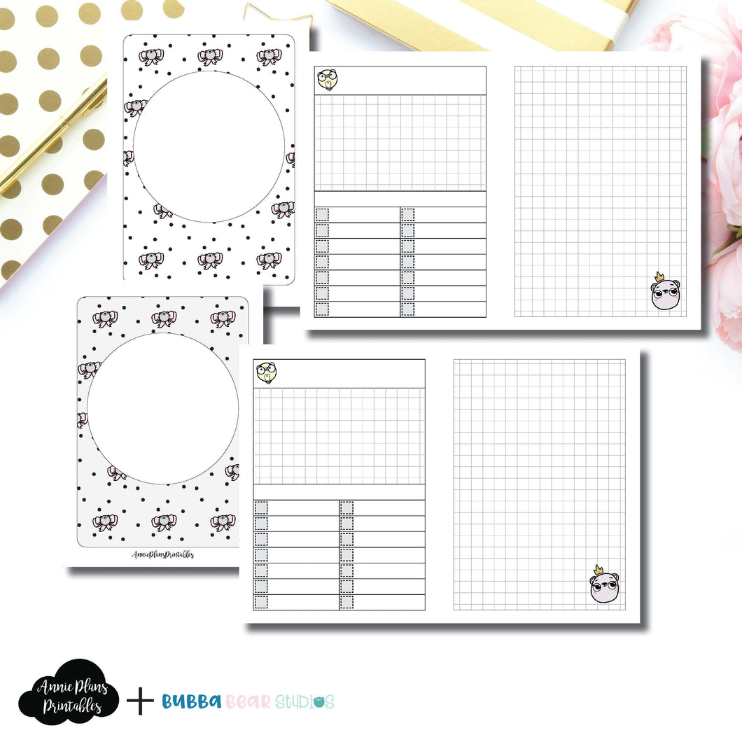 PASSPORT TN Size | Undated Day on 2 Page or Project Bubba Bear Studios Collaboration Printable Insert ©