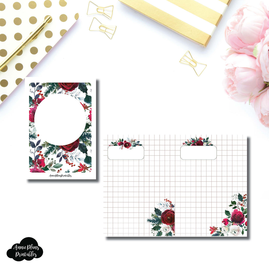 Passport TN Size | Holiday Floral Grid Printable Insert ©